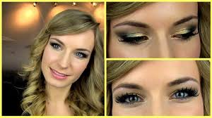 prom makeup tutorial gold green smokey eye glitter party makeup mordiy