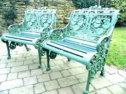 White wrought iron garden furniture Bench Vintage White Cast Iron Garden Furniture Patio Cushions Wrought Metal Chairs Vintage Impiantielettricibonardiinfo Cast Iron Outdoor Furniture White Metal Garden Table And Chairs