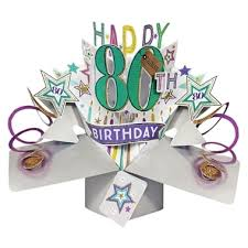 80th pop up birthday card