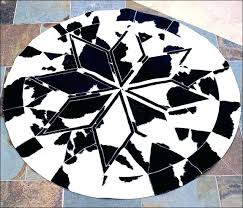 black circle gy rug geometric round pure cowhide leather patchwork within and white