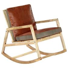 vidaXL <b>Rocking Chair Brown Real</b> Leather and Solid Mango Wood ...