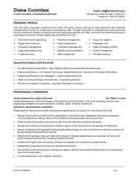 Aircraft Maintenance Engineer Sample Resume 0 1 Aviation