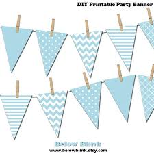 Light Blue Banner Printable Pennant Banner Birthday Party Its A Boy Baby Shower Banner Instant Download Dp371