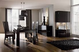 contemporary dining room set four black leather dining chair modern piece rectangular glass top round dining