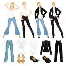 黒のスーツブルー ジーンズと白いシャツと異なる外観のベクトル