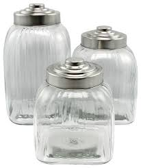gibson home cottage chic 3 piece clear glass canister set stainless steel lid contemporary kitchen canisters and jars by bargain4all