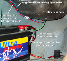 stoem com >>> wiring up a splitcharge relay and a second battery here you can see the starter battery together the constant red live feed to the relay and the blues cable which runs from the relay to the generator