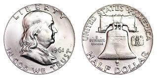 1959 Franklin Half Dollar Value Chart 1961 Franklin Half Dollar Liberty Bell Coin Value Prices