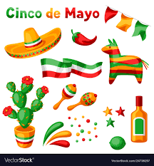Mexican cinco de mayo set objects ...