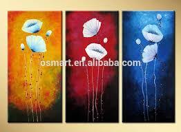 simple modern art paintings 3 panels flower oil painting
