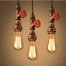 copper pipe red stop tap industrial vintage style pendant light is retro newchic