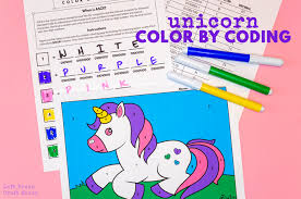 Unicorn coloring pages allow kids to travel to a fantastic world of wonders while coloring, drawing and learning about this magical character. Color By Coding Unicorn Coloring Page Left Brain Craft Brain