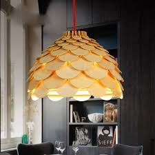 pinecone wooden pendant light scandinavian pendant lighting. modern art oak wooden pinecone pendant lights hanging wood artichoke lamp for dinning room restaurant retro light scandinavian lighting o