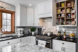 Space Saving Shelves White Kitchen Cabinets Black Quartz Countertops