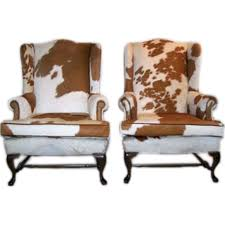 Pair of Queen Anne Style Cowhide Upholstered Wing Chairs at 1stdibs