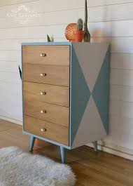 Modern Bedroom Chest Of Drawers Original Mid Century Chest Of Drawers Painted With A Geometric