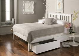 white bed frame. Simple Bed Malmo White Wooden Bed Frame  Double Including 2 Pairs Of  Underbed Drawers  For