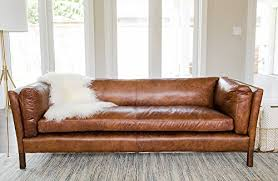 modern leather sofa by edloe finch u2013 mid century couch top grain brazilian cognac brown modern leather sofas n16 modern