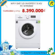 Điện máy XANH (dienmayxanh.com) - Máy giặt LG Inverter 7.5 kg FC1475N5W2  💵Giá sốc: #8390k 🎁Khuyến mãi trị giá 600.000₫: 📌Thùng bia Budweiser 24  lon trị giá 300.000₫ 📌ƯU ĐÃI KHỦNG: Mua