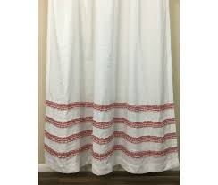 white shower curtains. White Shower Curtain With Red Ticking Stripe Ruffle | Handmade By  SuperiorCustomLinens White Shower Curtains