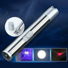 <b>3 in1</b> 500LM Mini Aluminum USB Rechargeable LED UV Torch <b>Pen</b> ...