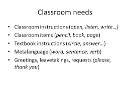 devising a lexical curriculum how many words should be in the  6 classroom needs classroom instructions open listen write classroom items pencil book page textbook instructions circle answer