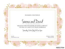 Wedding Invitation Card With Pink Flower Frame Vector Design