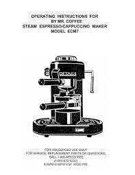 Coffee caf espresso steam rich espresso brew. Operating Instructions For By Mr Coffee Steam Espresso Foodsaver