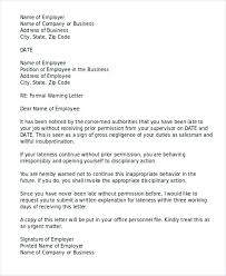 How To Write A Warning Letter To An Employee Formal Late To Job Warning Letter Employee For Lateness Work