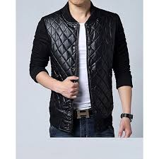 quilted black leather jacket for men