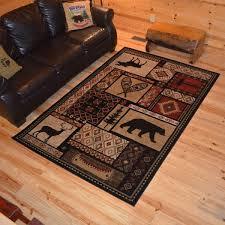 deer area rugs rustic lodge bear moose cabin multi black rug 5 3 x
