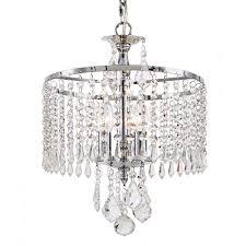 3 light polished chrome mini chandelier with k9 crystal dangles