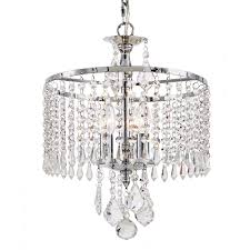 fifth and main lighting 3 light polished chrome mini chandelier with k9 crystal dangles