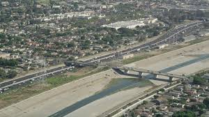 5k stock footage aerial approach the los angeles river and interstate 710 in bell gardens los angeles california aerial stock footage ax68 038