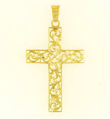 9carat yellow gold filigree cross pendant 26x38mm 273316715186