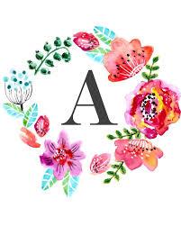 Floral Monogram Free Printable Wall Art Printables Letter Wall Art