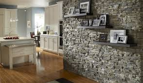 Stone Accent Wall traditional-kitchen