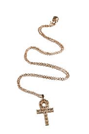 catholic cross necklace rose gold