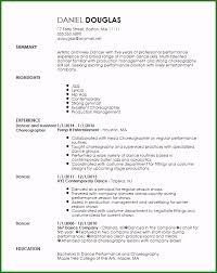 Skill Set Template Skill Set Resume Template Very Best Free Creative Dancer