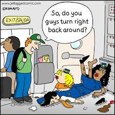 jetlagged comic a cartoon for flight crews created by current i had this question on a sydney to los angeles flight i answered the question would you go back now point made
