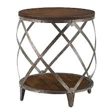 wood metal end table collection in oak accent table round oak brown wood metal drum shape contemporary accent side end wood table with black metal chairs