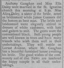 Anthony Gaughan and Miss Ella Daley were married... - Newspapers.com