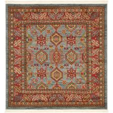 unique loom sahand light blue 4 x 4 square rug