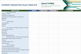 Marketing Plan Gantt Chart Template Internet Marketing Plan Template Free Download Excel