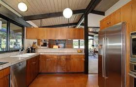 black wooden beam ceiling for amazing kitchen ideas using brown mid century cabinet