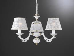 3 lights matt white iron brass chandelier with lamp shades