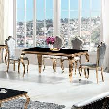 Barock Esszimmer Set Rosegold Schwarzgrau 4 Stühle Design Möbel