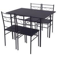 tms furniture nook black 635. Costway 5 Piece Dining Table Set 4 Chairs Wood Metal Kitchen Breakfast Furniture Black Tms Nook 635