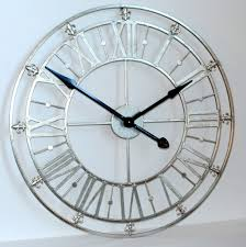 silver iron skeleton wall clock 76cm 30 diameter