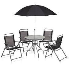 wilko round patio set black 6pc image 1